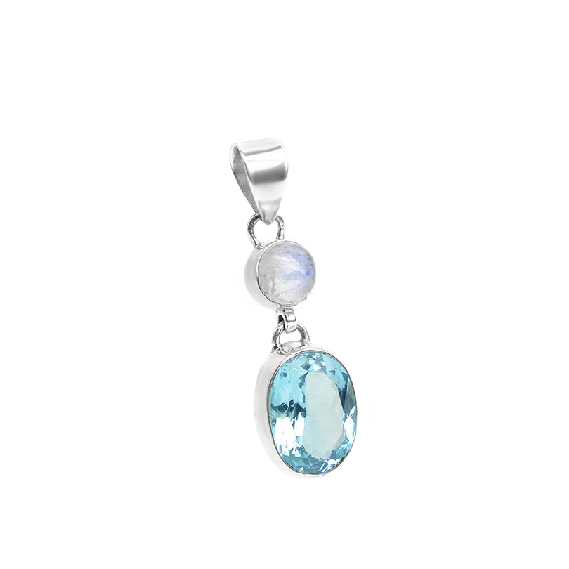 Vibrant Blue Topaz with Rainbow Moonstone Sterling Silver Pendant