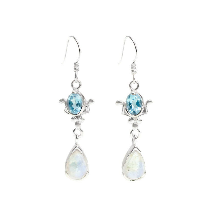 Blue Topaz and Rainbow Moonstone Princess Sterling Silver Earrings