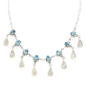 Blue Topaz and Rainbow Moonstone Princess Sterling Silver Necklace