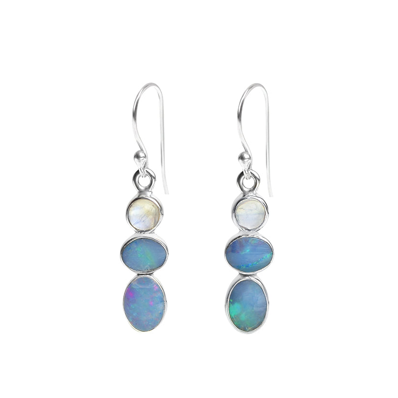 Pretty Australian Blue Opal, Moonstone Sterling Silver Earrings