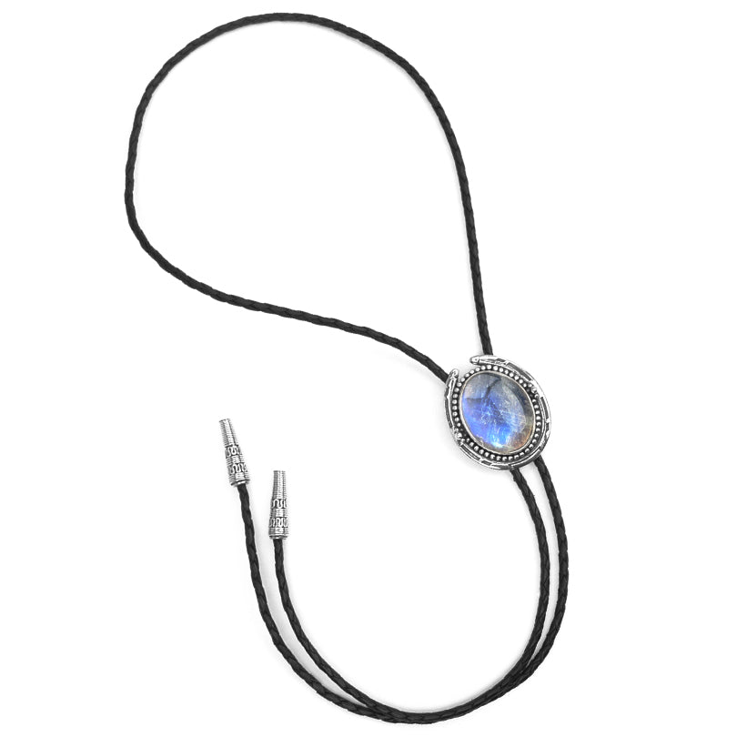 Rainbow Moonstone Sterling Silver Leather Bolo-Tie 39""
