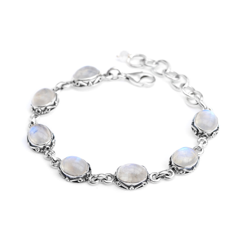 Lovely Moonstones in a Filigree Design Setting Sterling Silver Bracelet