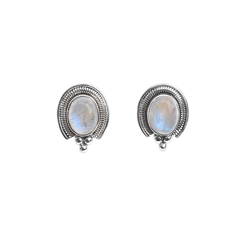 Gorgeous Rainbow Moonstone and Stunning Bali Design Sterling Silver Earrings