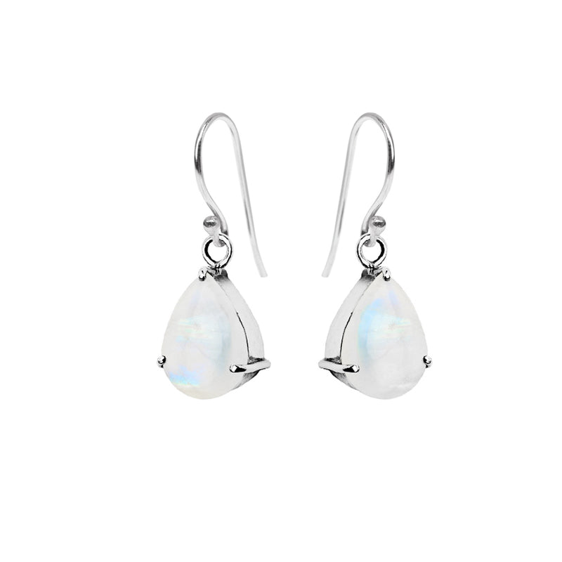 Beautiful Rainbow Moonstone Sterling Silver Earrings