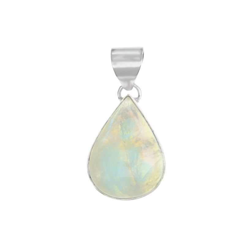 Opalescent Small Rainbow Moonstone Sterling Silver Pendant