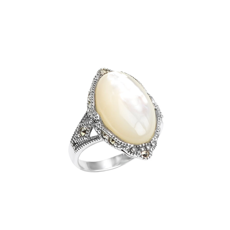 Sterling Silver Mother of Pearl and Marcasite Ring