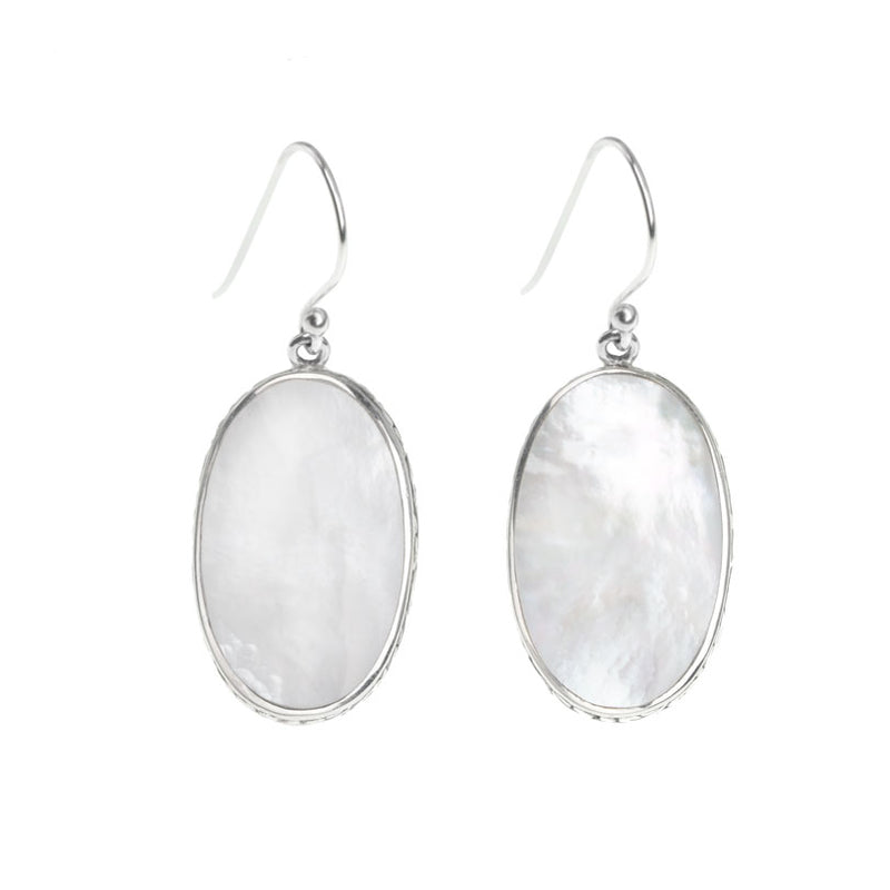 Shimmering Balinese Mother of Pearl Sterling Silver Statement Earrings