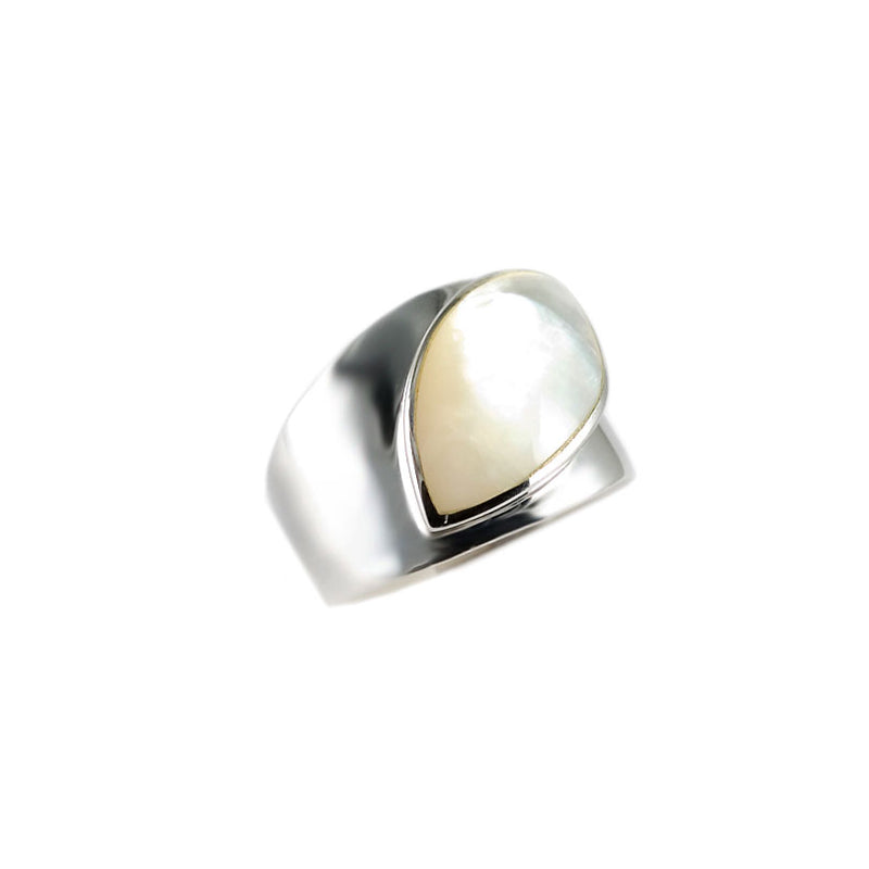 """Cats Eye"" Mother of Pearl Sterling Silver Ring-size 10"