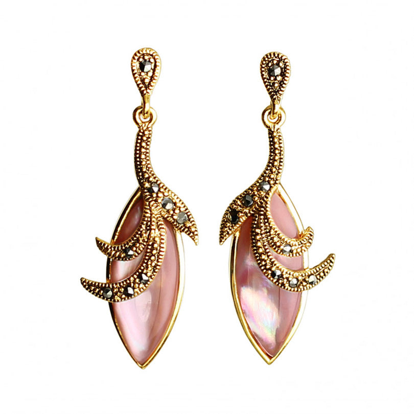 Natural Pink Mother of Pearl With 14kt Gold Plated Marcasite Earrings