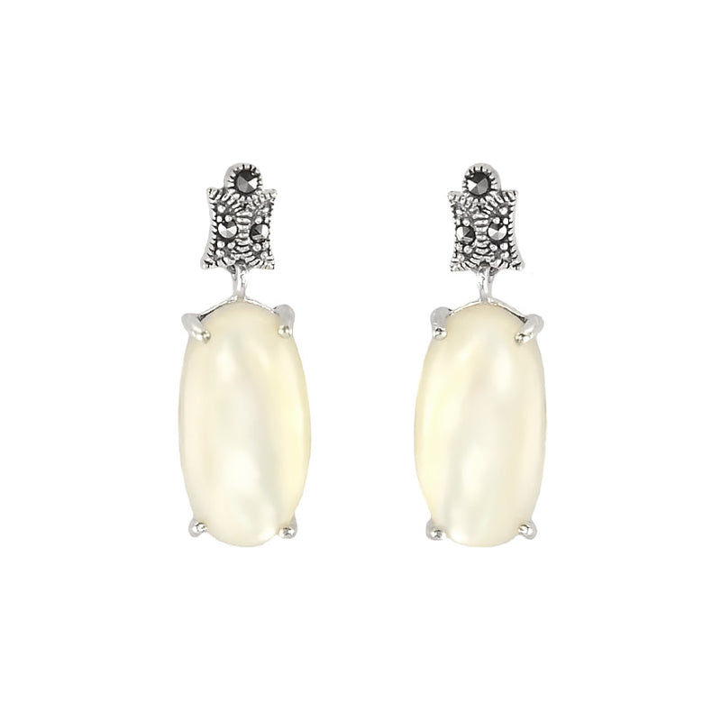 Shimmering White Mother of Pearl Marcasite Earrings