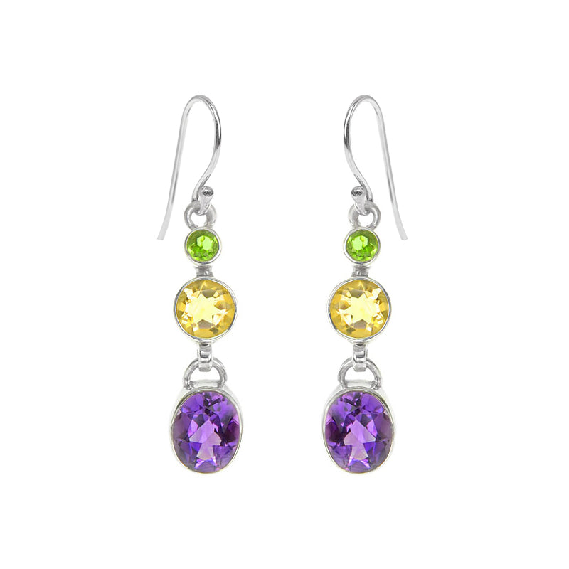 Colorful and Gleaming Amethyst, Citrine and Peridot Sterling Silver Earrings
