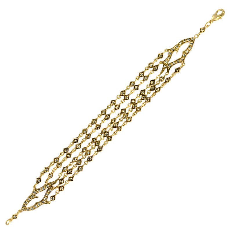 Golden Flame 14kt Gold Plated Crystal  Multi-Strand Bracelet