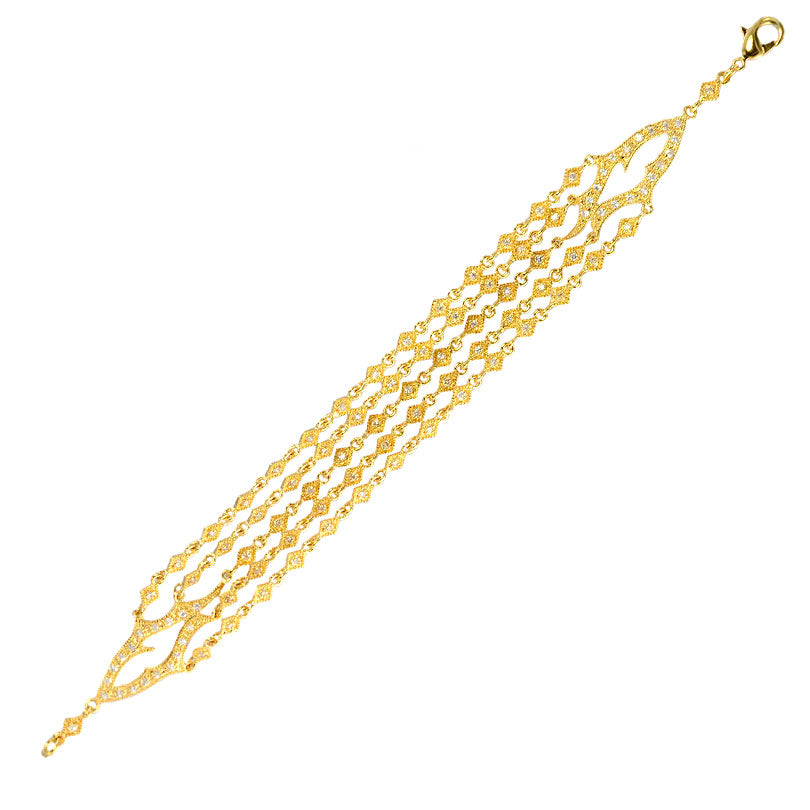 14kt Gold Plated Crystal Golden Flame Bracelet