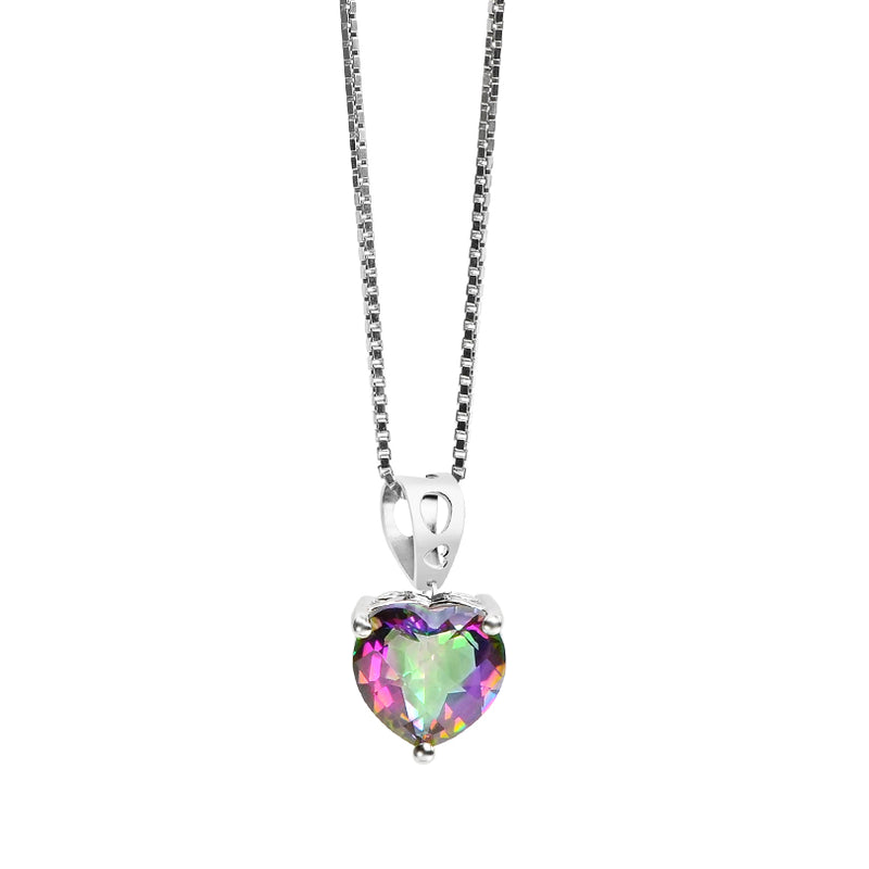 Darling Mystic Quartz Heart Pendant on Rhodium Plated Sterling Silver Chain