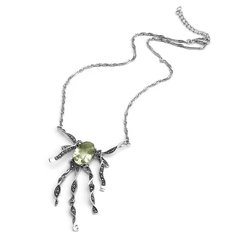 Whimsical Green Amethyst Marcasite Sterling Silver Necklace