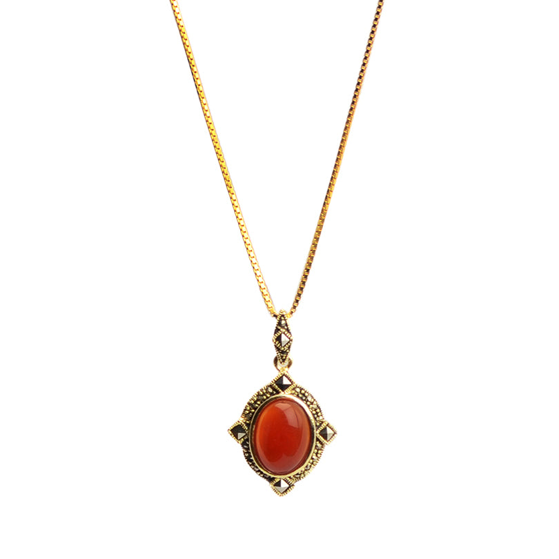 Rich Carnelian And Sparkling Marcasite Gold Plated Necklace