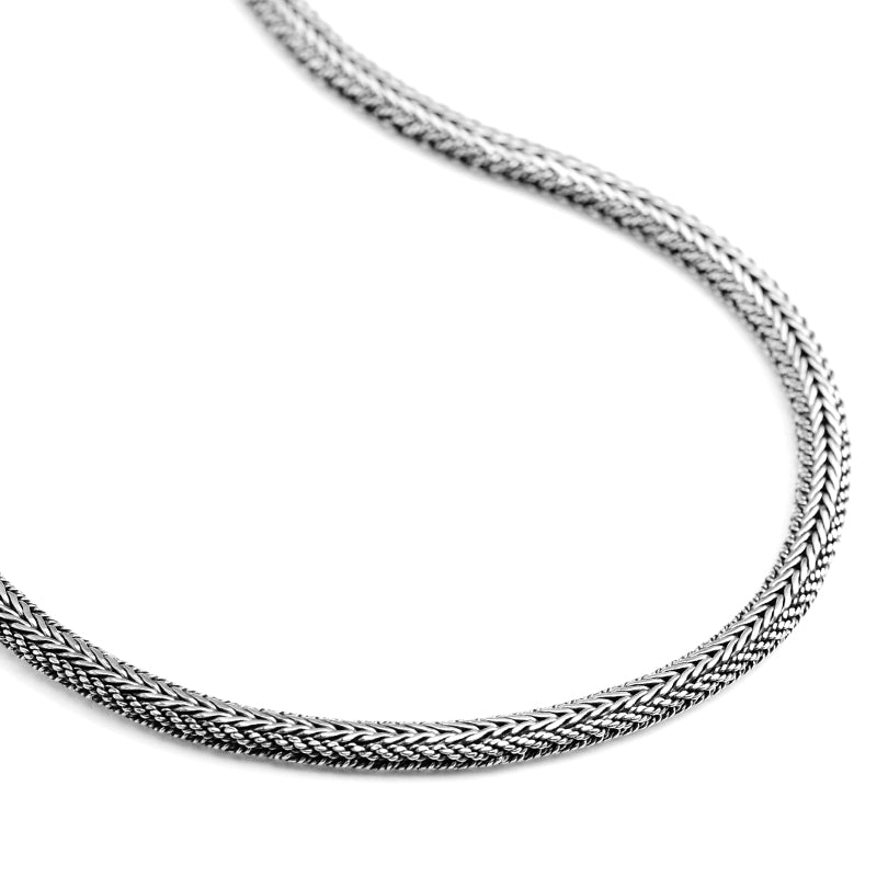 Sterling Silver 7mm Fancy Padi Weave Chain with Lobster Clasp
