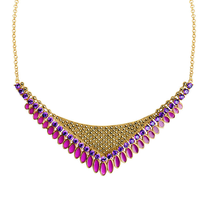 Perfect Holiday Necklace with 14kt Gold Plated Marcasite, and Sparkly Crystal Statement Necklace