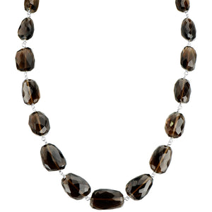 "Rich Smoky Quartz Sterling Silver Necklace 16"" - 18"""