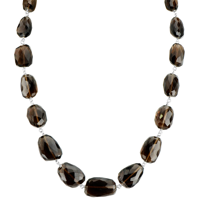 Rich Smoky Quartz Sterling Silver Necklace 16