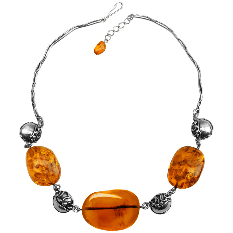 Magnificent Polish Designer Cognac Baltic Amber Sterling Silver Necklace - Only one available