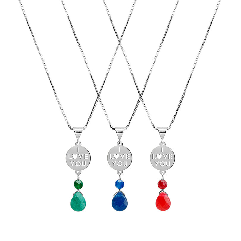 """I Love You"" Colorful Agate Rhodium Plated Sterling Silver Italian Necklace"
