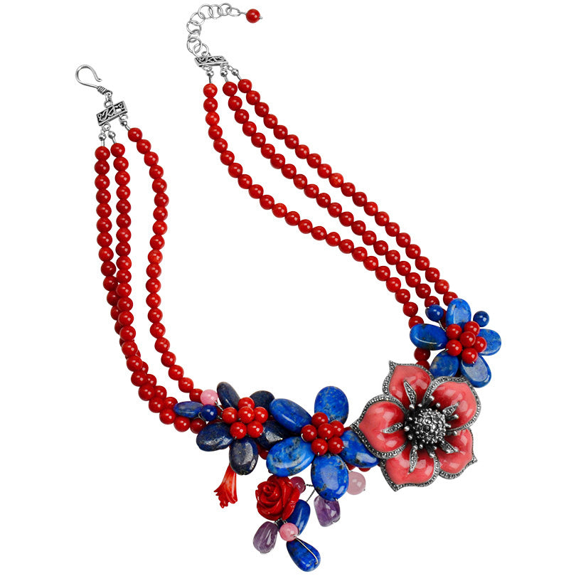 Gorgeous Lapis & Coral Statement Flower Necklace