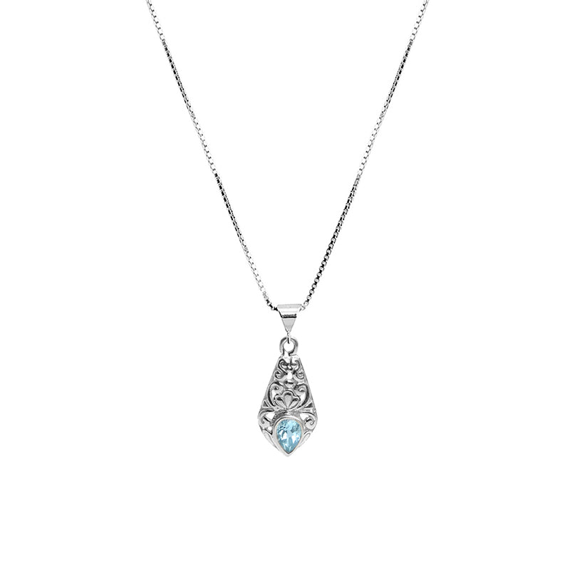 Balinese design Petite Blue Topaz Sterling Silver Necklace