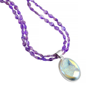 "Delicious Titanium Drusy and Amethyst Necklace 16"" - 18"""