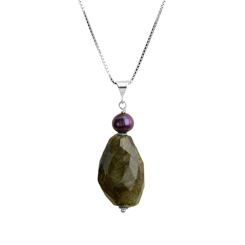 Dramatic Labradorite and Purple Pearl Sterling Silver Necklace
