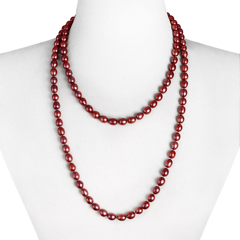 Very Long Bronze-Red Fresh Water Opera Pearl Necklace 50