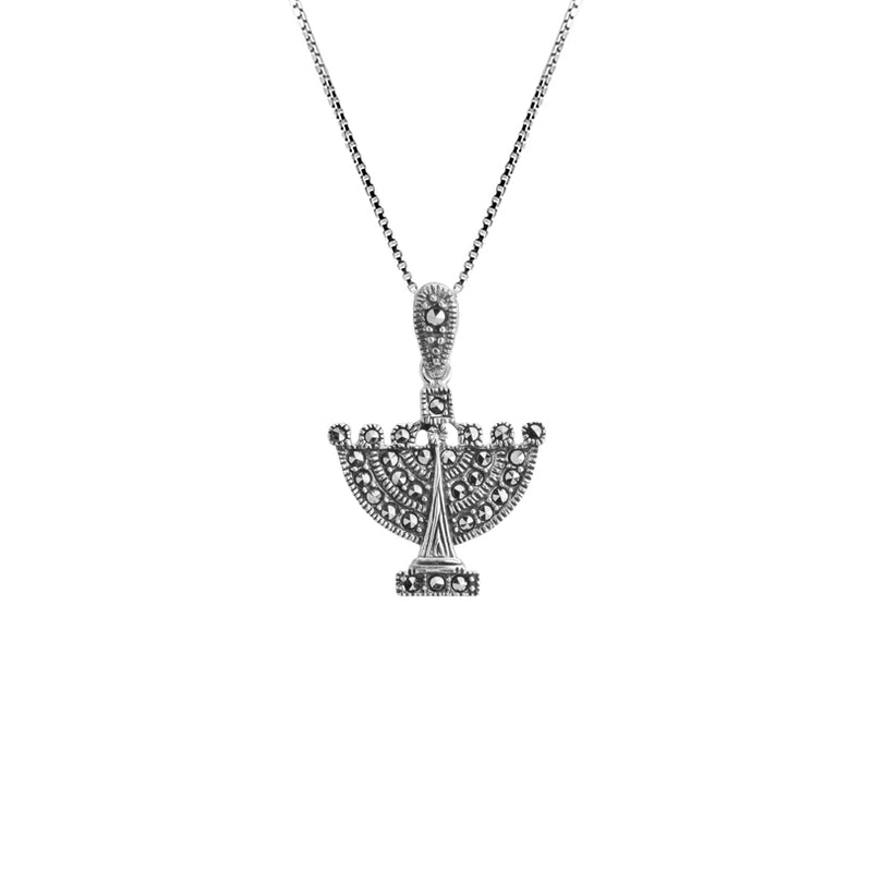 Miniature Marcasite Menorah Sterling Silver Necklace 16