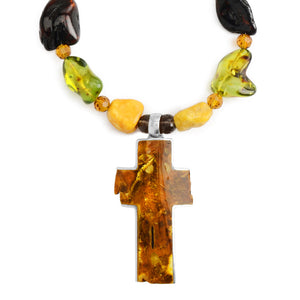 Large Baltic Amber Cross Sterling Silver Set
