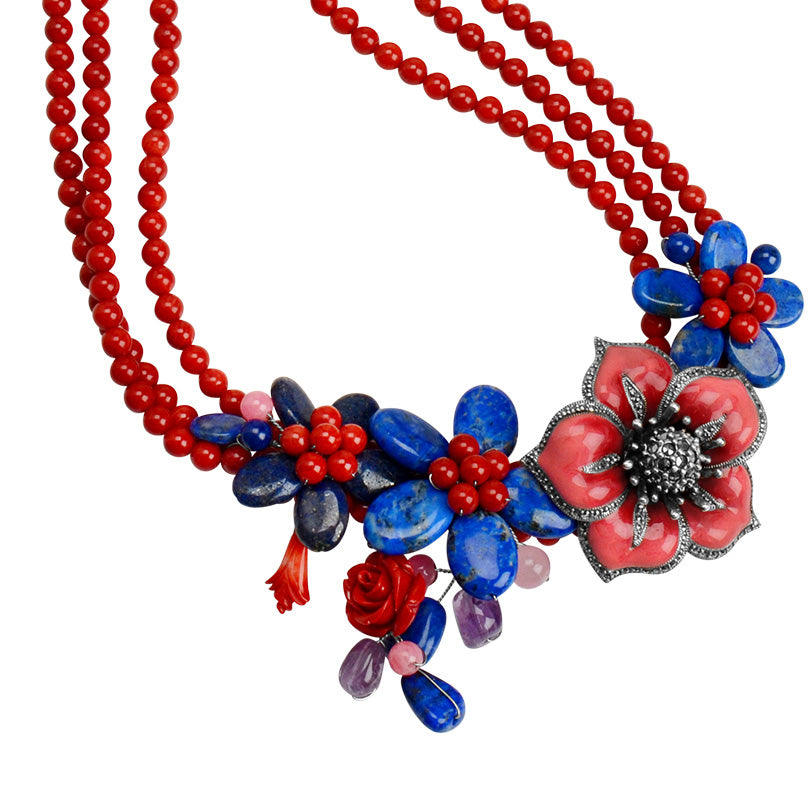 Coral, Lapis and Amethyst with Marcasite Enamel Flower Necklace