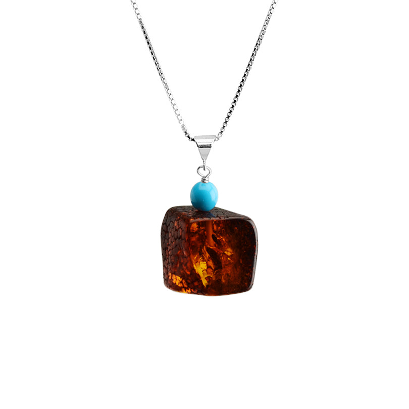 Cute and Sassy Amber and Sleeping Beauty Turquoise Sterling Silver Necklace