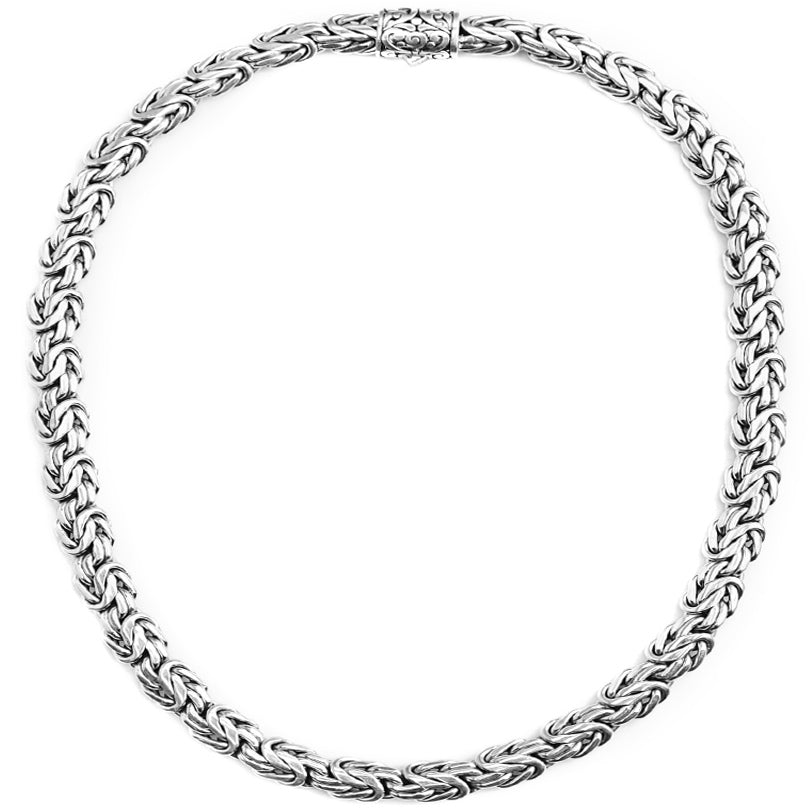 Sterling Silver 12mm Borobadur Chain with Barrel Clasp