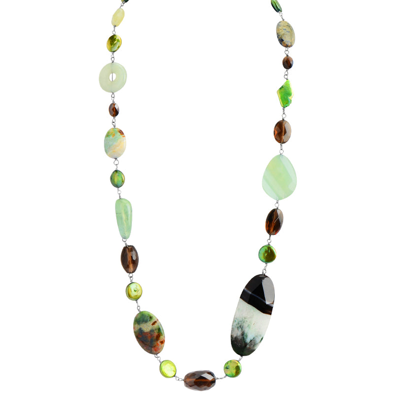 Wonderful Earthy Colors of  Prehnite, Jade, Agate, Jasper, and Smoky Quartz Necklace 25