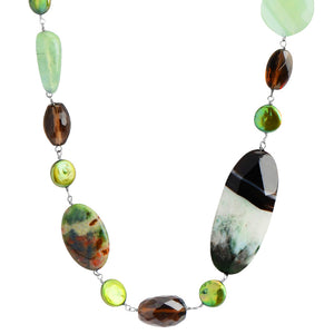 "Wonderful Earthy Colors of  Prehnite, Jade, Agate, Jasper, and Smoky Quartz Necklace 25"" - 27"""