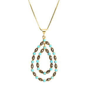 "14kt Gold Plated Marcasite with Turquoise-Magnesite Balls Necklace 16"" - 18"""