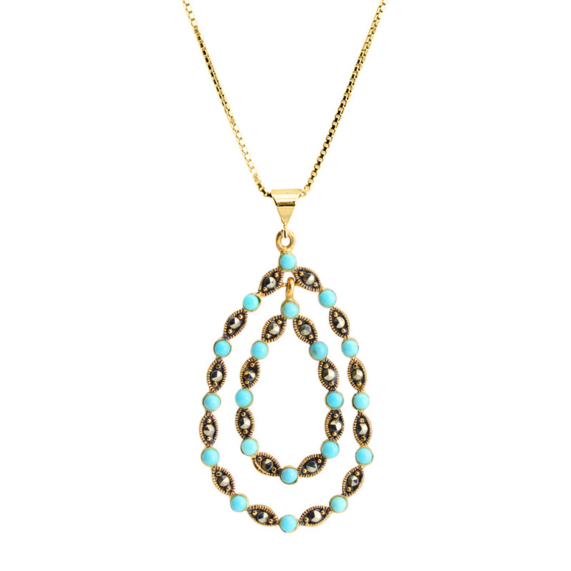 14kt Gold Plated Marcasite with Turquoise-Magnesite Balls Necklace 16