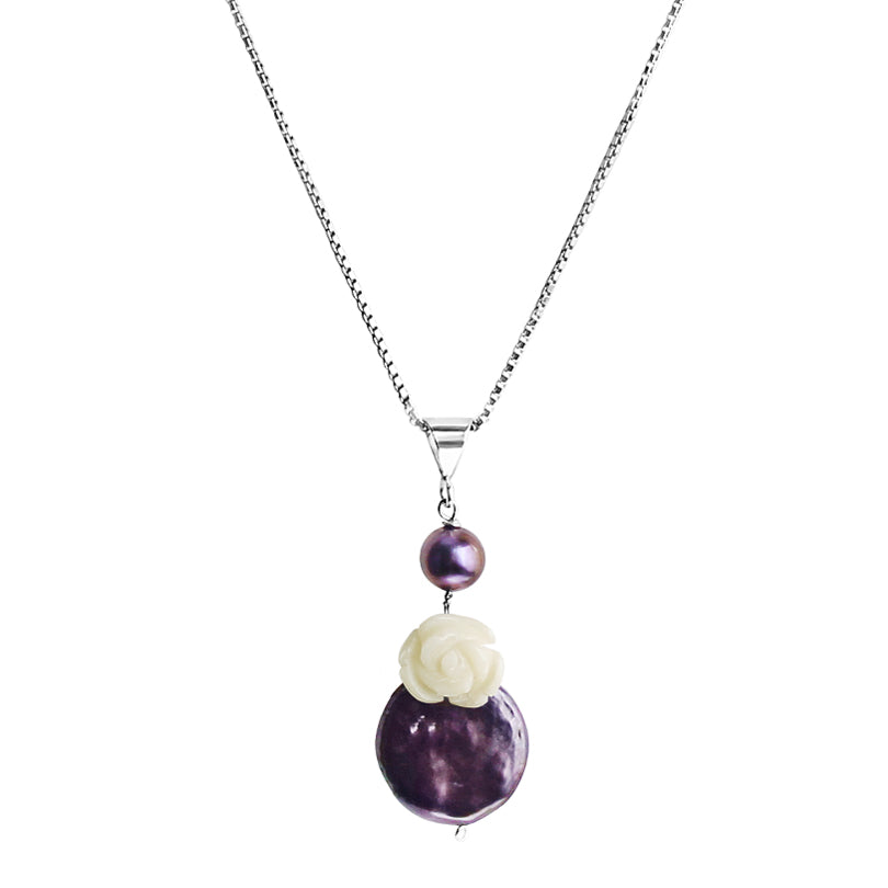 Fresh Water Coin Pearl Sterling Silver Petite Necklace
