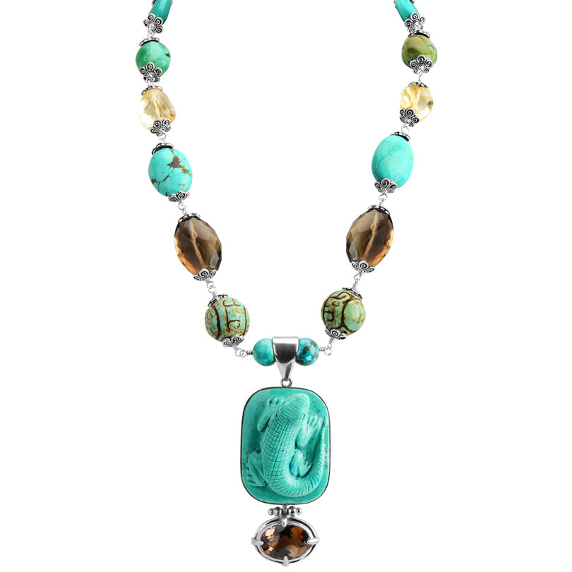 "Gorgeous Carved Turquoise, Smoky and Lemon Quartz Sterling Silver Statement Necklace 18"" - 20"" one of a kind"