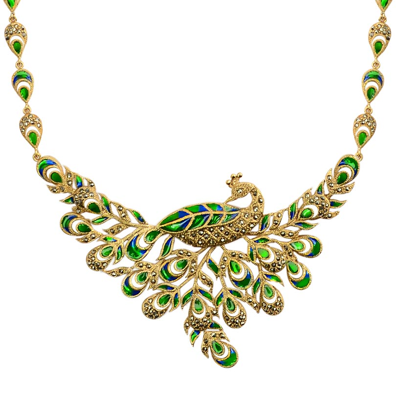Stunning Graceful 14kt Gold Plated Green Peacock Necklace