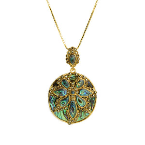 Gorgeous Abalone and Marcasite Gold Plated Necklace 18""