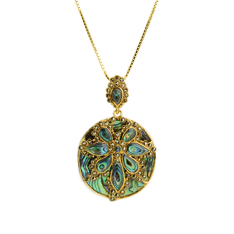 Gorgeous Abalone and Marcasite Gold Plated Necklace 18