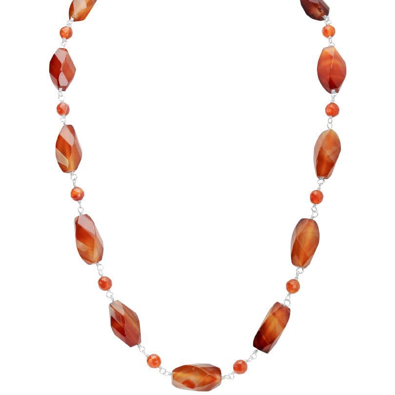 "Lovely Faceted Wave-Cut Carnelian Sterling Silver Necklace 18"" - 20"""