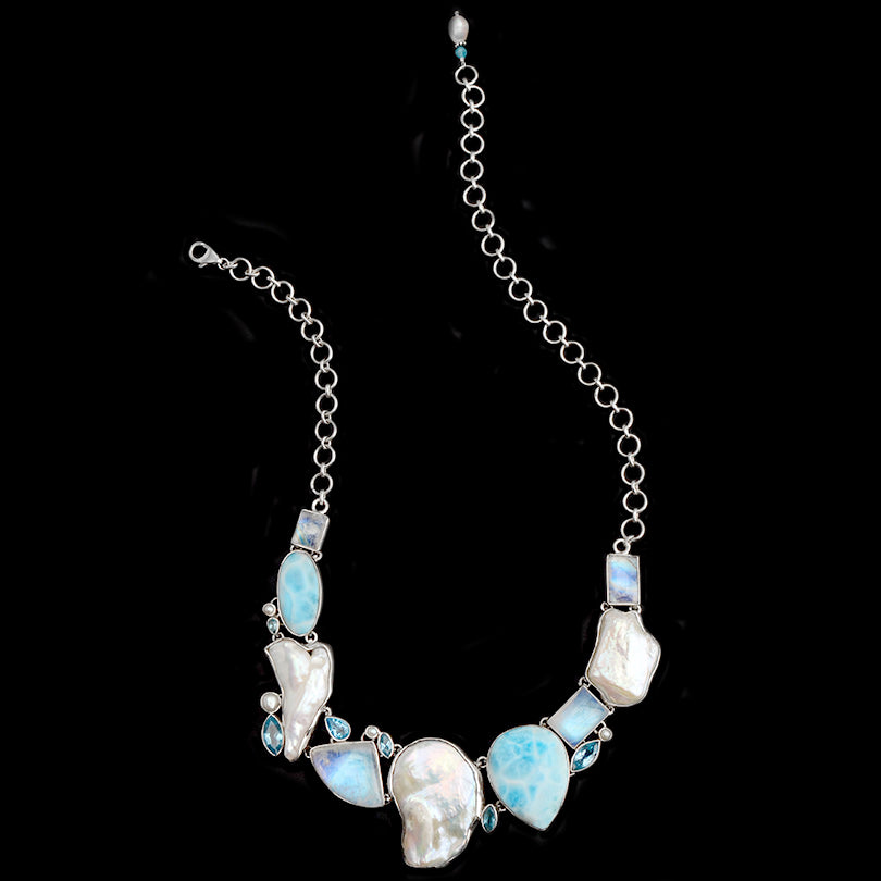 Caribbean Magic! Larimar, Pearl and Rainbow Moonstone Sterling Silver Statement Necklace
