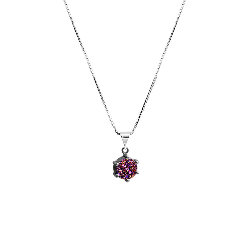 Tiny Petite Titanium Drusy On Italian Rhodium Plated Sterling Silver Necklace