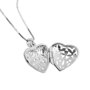 Classic Marcasite Heart Locket on Rhodium Plated Silver Chain