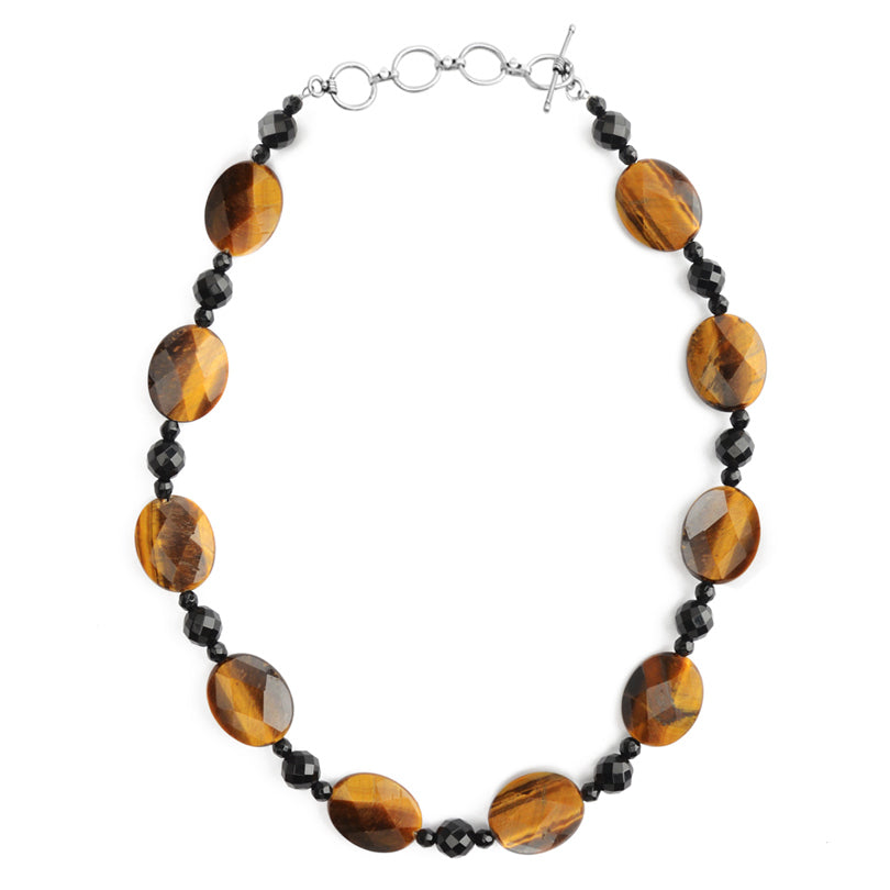 Faceted Tiger's Eye And Black Onyx Sterling Silver Necklace